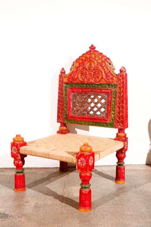 Pair of Low handcarved Rajasthani Chairs image 5