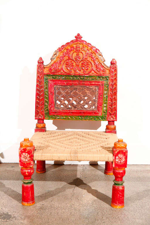 Pair of Low handcarved Rajasthani Chairs image 9