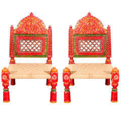 Pair of Low handcarved Rajasthani Chairs thumbnail 1