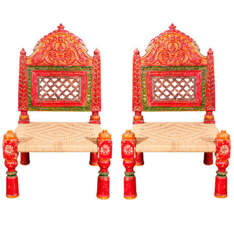 Pair of Low handcarved Rajasthani Chairs