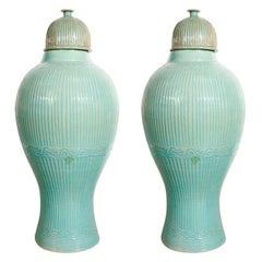 Large 3' Moorish Blue Urns with Lid