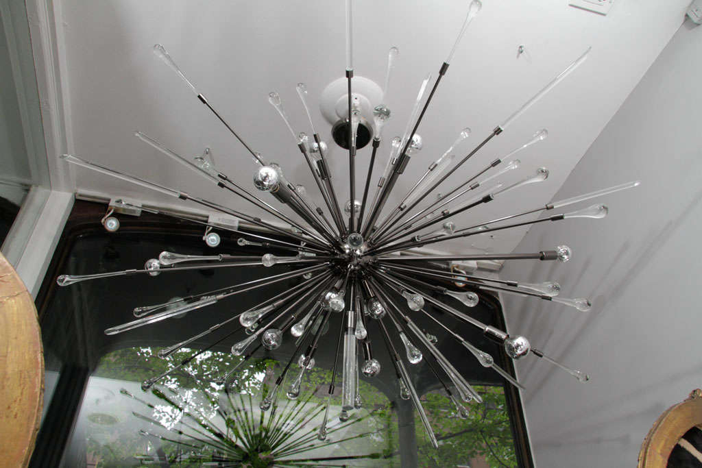 Glass Black Nickel-Plated Tear Drop Sputnik For Sale
