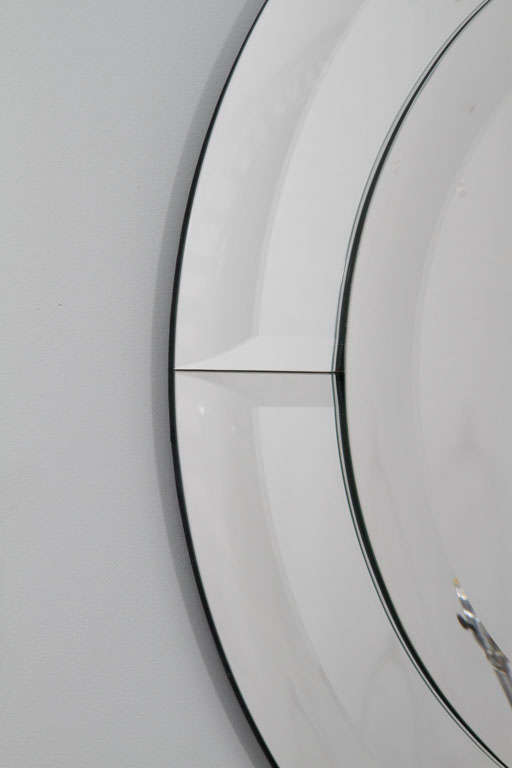 American Round Beveled Clear Mirror in Quartered Beveled Mirror Frame For Sale
