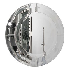 Round Beveled Mirror in the Manner of Karl Springer