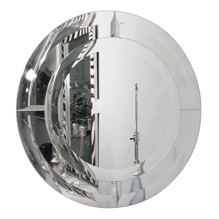 Round Beveled Clear Mirror in Quartered Beveled Mirror Frame For Sale