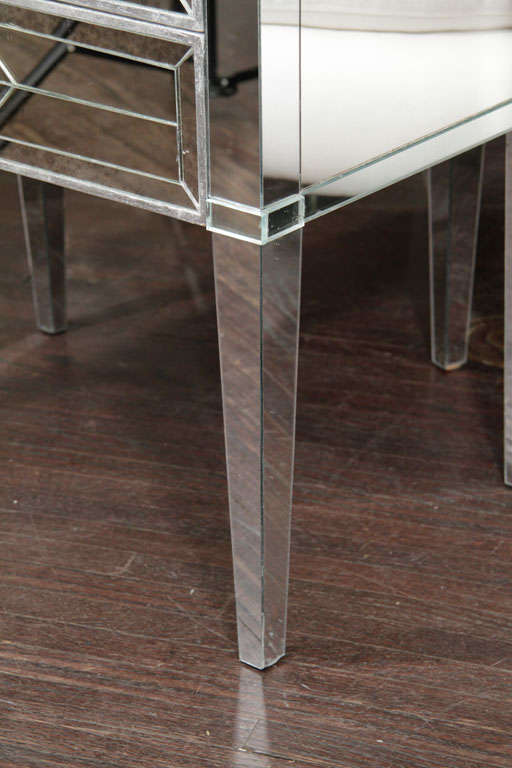 Pair of Three-Drawer Mirrored Commodes 2