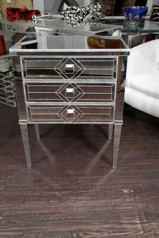Pair of Three-Drawer Mirrored Commodes 4
