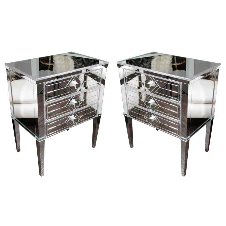 Pair of Three-Drawer Mirrored Commodes 1