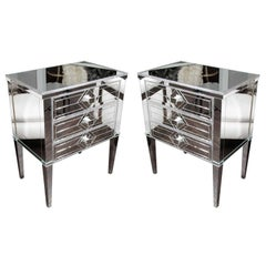 Pair of Neoclassical Modern Silver Trim 3-Drawer Diamond Mirrored Nightstands