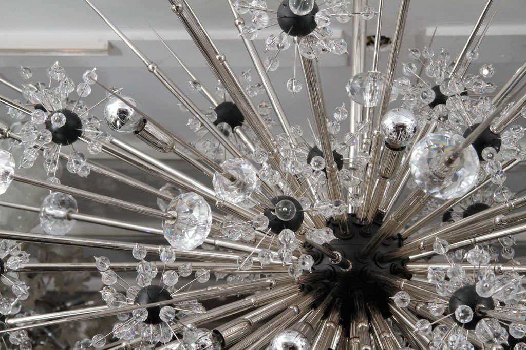 Austrian Monumental Nickel Plated Crystal Sputnik For Sale