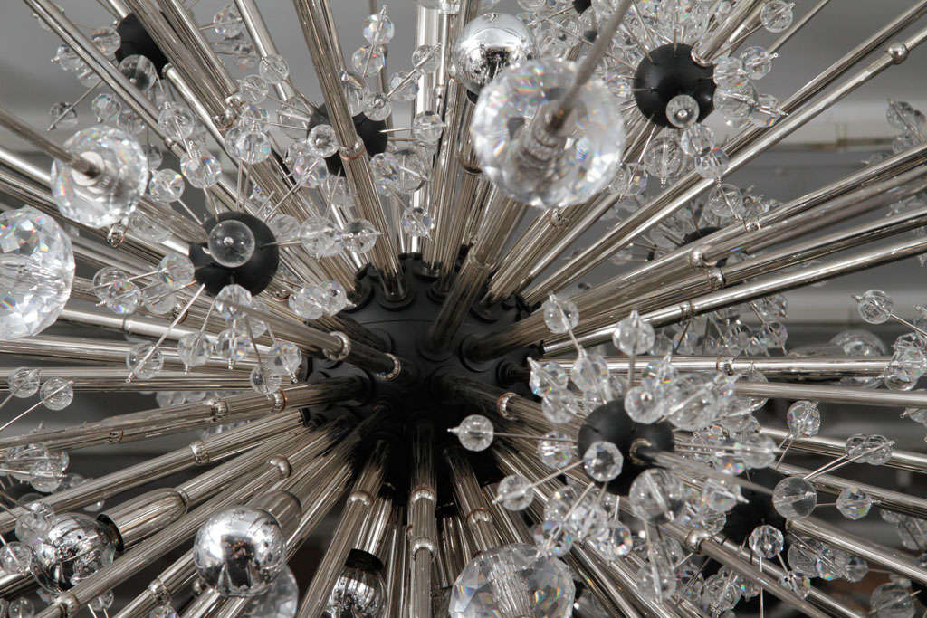 Monumental Nickel Plated Crystal Sputnik In Excellent Condition For Sale In New York, NY