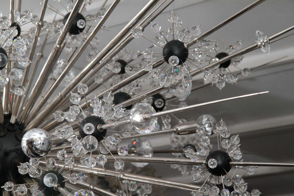 Monumental Nickel Plated Crystal Sputnik For Sale 2