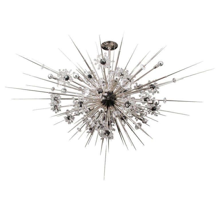 Monumental Nickel Plated Crystal Sputnik For Sale