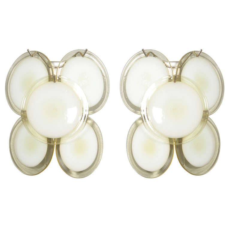 Pair of Yellow Vistosi Disc Sconces For Sale