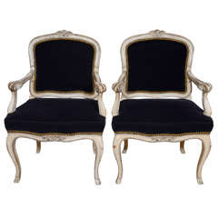 Pair of Louis XV Style Carved and Painted Fauteuils