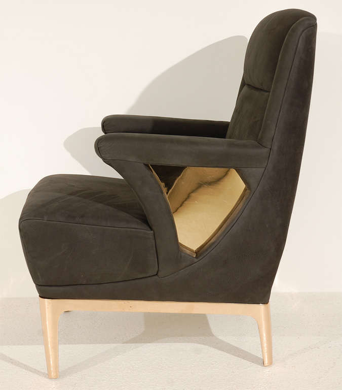 Unique Club Chair With Bronze Base And Cutouts For Sale At