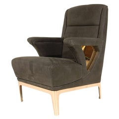 Club Chair with Bronze Base & Cutouts