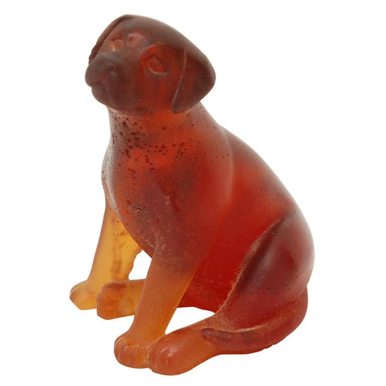 pate de verre crystal dog by daum at 1stdibs. Black Bedroom Furniture Sets. Home Design Ideas
