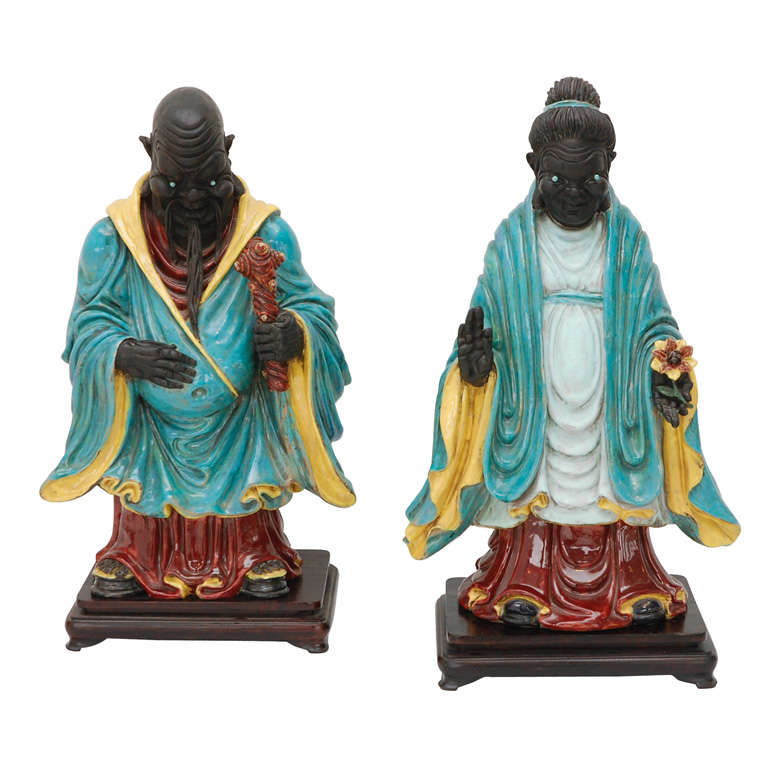 Pair of Chinese Ancestral Figures by Professor Eugenio Pattarino ...
