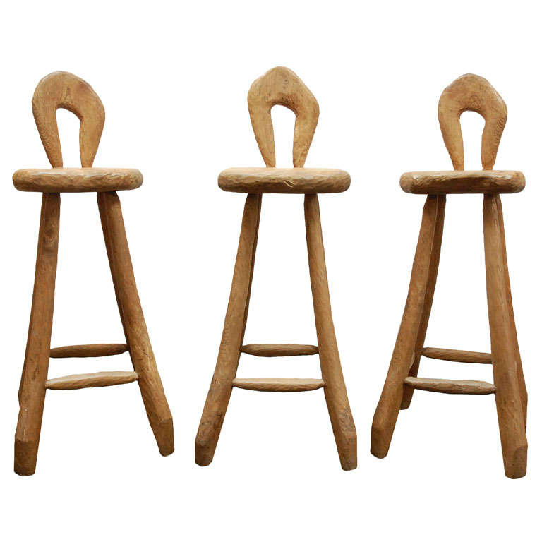 Set Of Custom Oak Bar Stools At 1stdibs