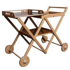 Early 40s Harold Treitel Cerused Oak Cart by Treitel Gratz
