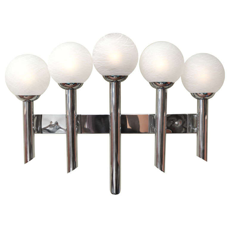 Monumental chrome five arm murano globe wall sconce for for Home interior 5 arm sconce