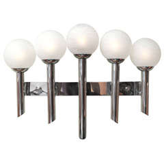 Monumental Chrome Five-Arm Murano Globe Wall Sconce