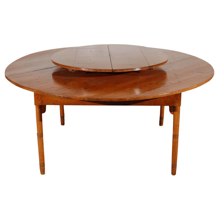 Pine table with lazy susan at 1stdibs for Pine dining room table