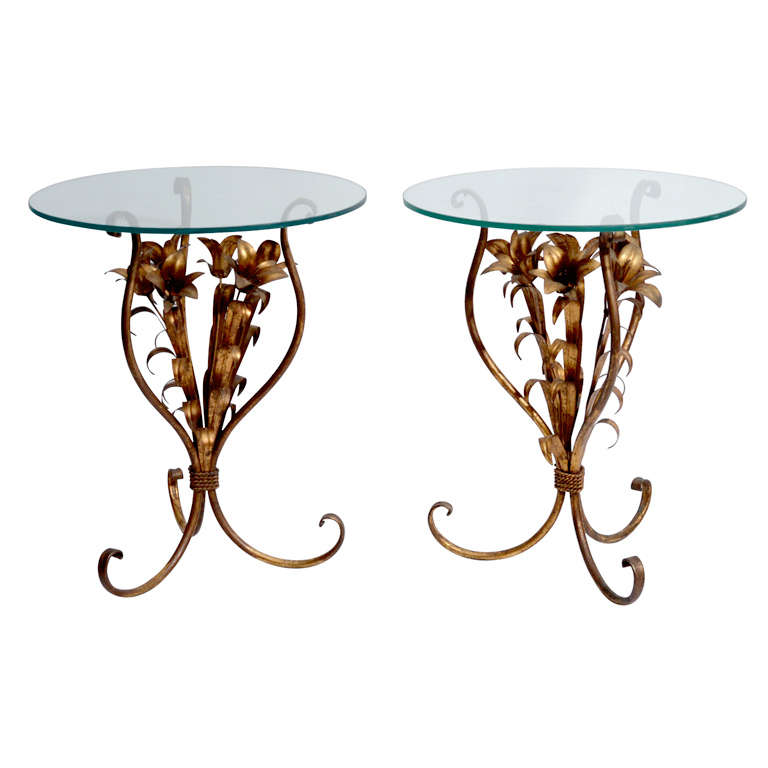 Italian Gold Gilt Iron And Glass Faux Bamboo Metal Square: Pair Of Italian Gilt Tole Floral Side Tables At 1stdibs