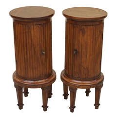Pair of 18th Century Louis XVI Cylinder Pedestal Commodes