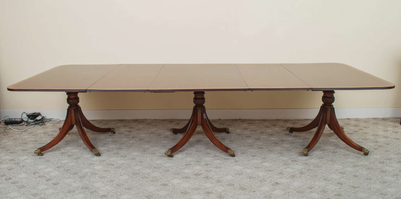 19th Century Regency Triple Pedestal Dining Table image 4