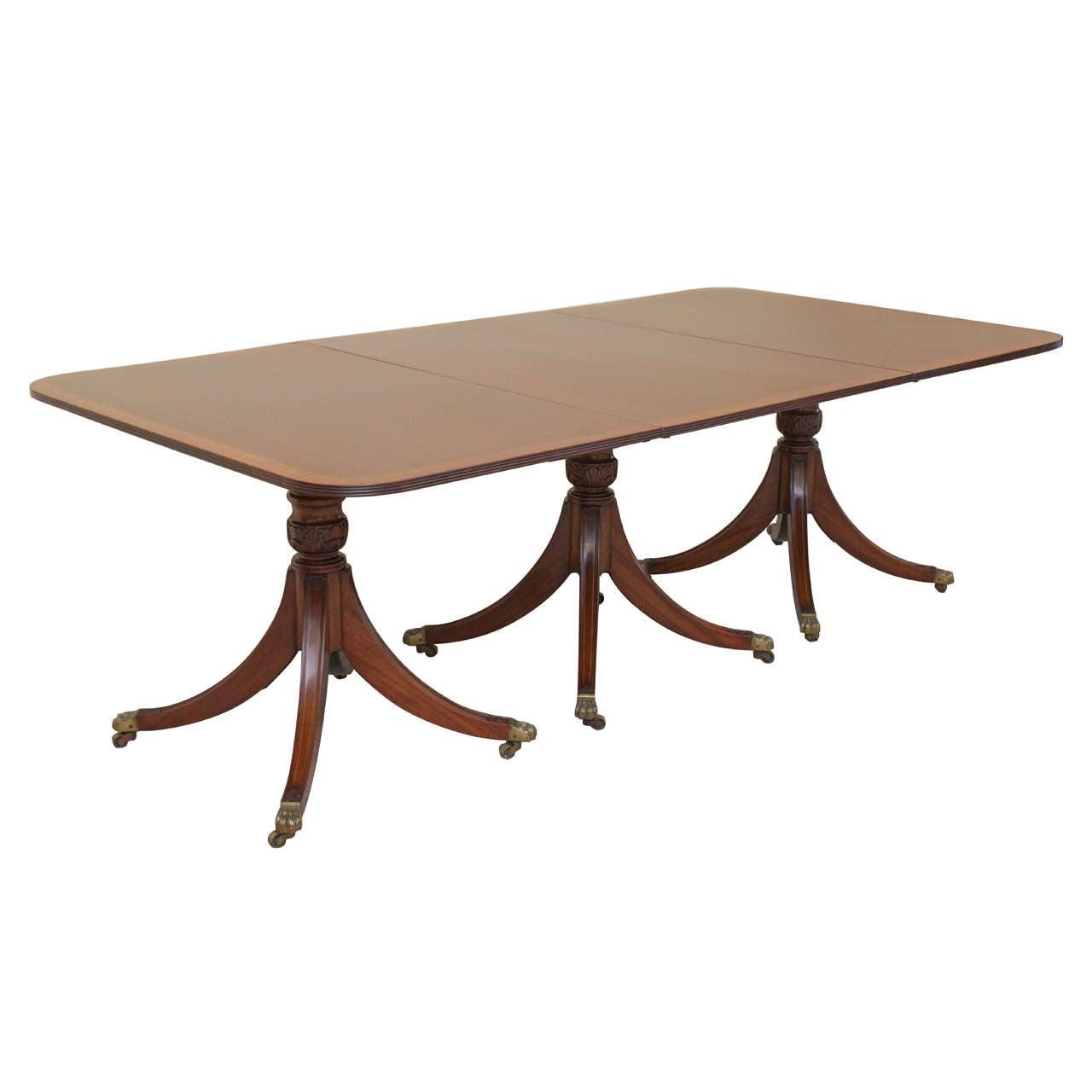 19th Century Regency Triple Pedestal Dining Table