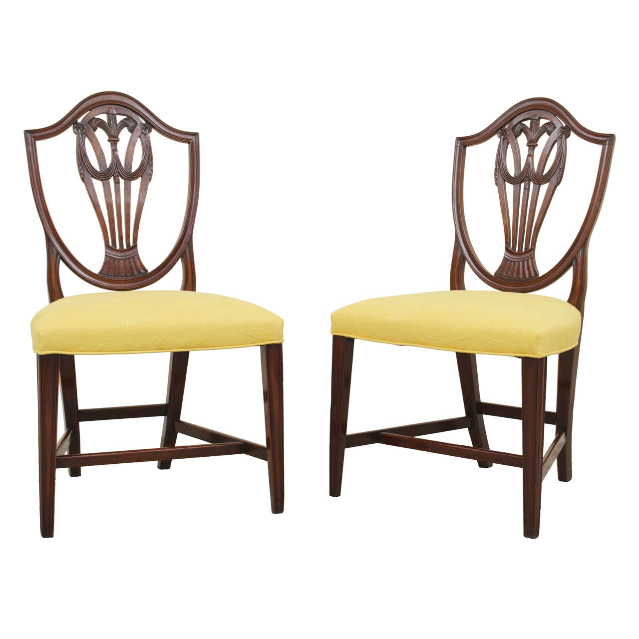 Pair Of 19th Century Mahogany Hepplewhite Style Shield Back Side Chairs At 1stdibs