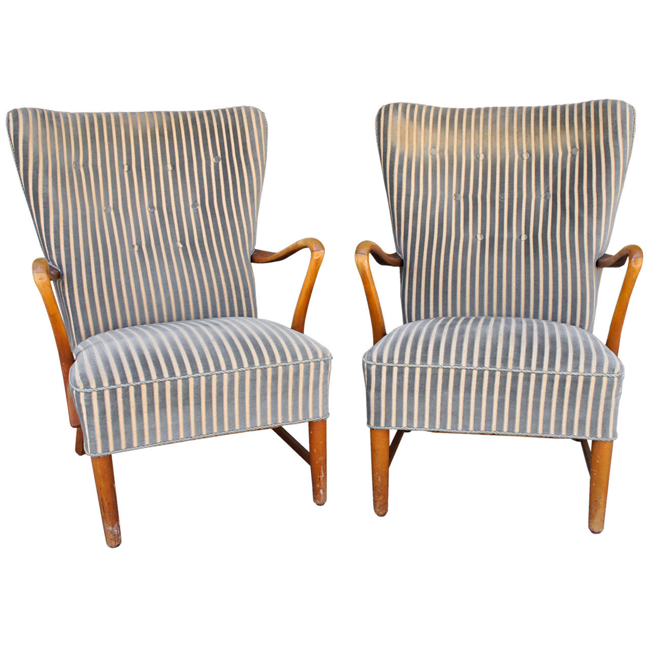 Pair Of Danish Modern Armchairs In Striped Fabric At 1stdibs