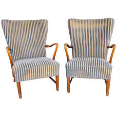 Pair of Danish Modern Armchairs in Striped Fabric