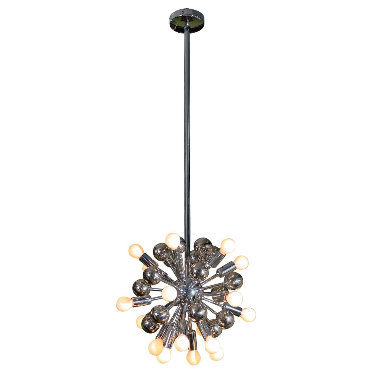 Chrome italian sputnik chandelier at 1stdibs for Sputnik chandelier