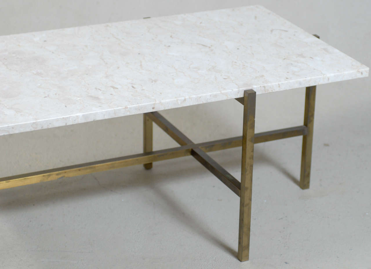 Architectural brass and stone coffee table attributed to for Architectural coffee table