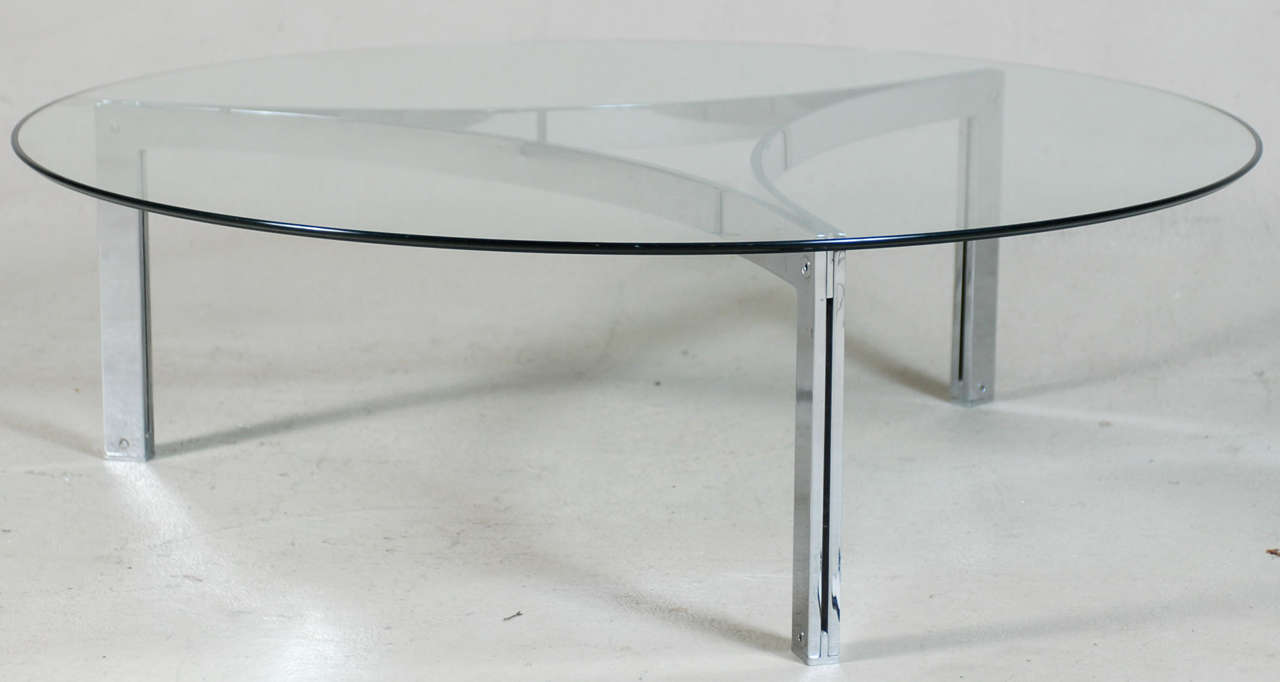 modernist architectural chrome and glass round coffee table at 1stdibs. Black Bedroom Furniture Sets. Home Design Ideas