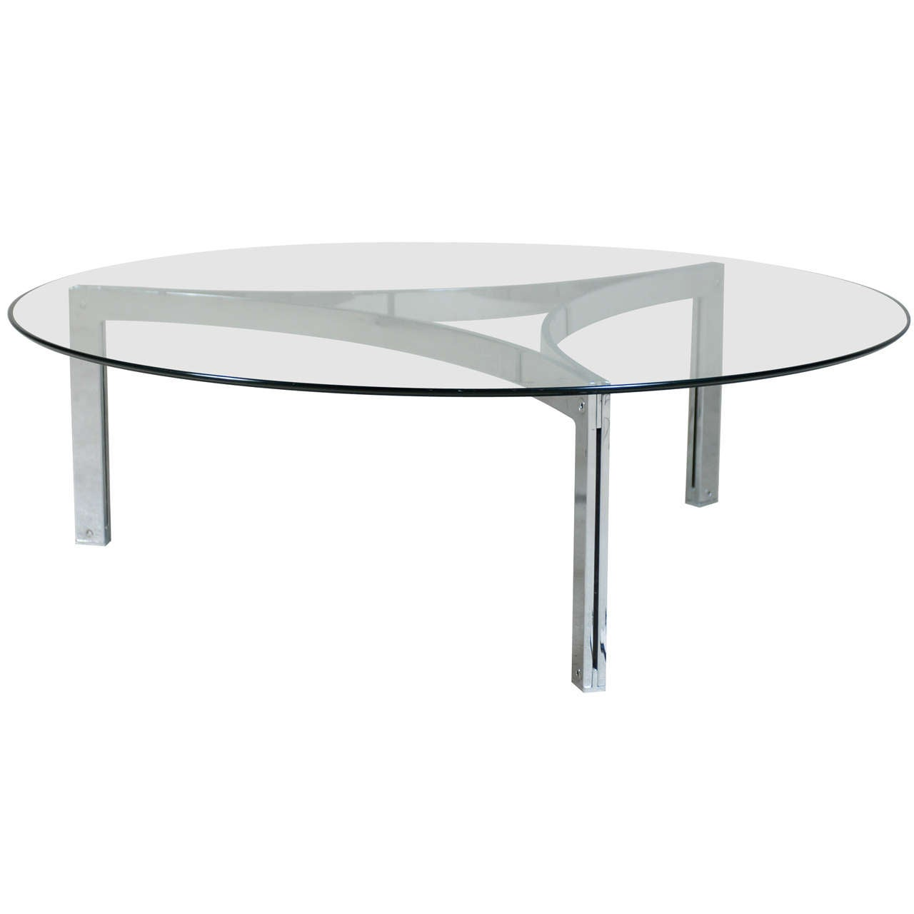 Modernist Architectural Chrome And Glass Round Coffee Table At 1stdibs