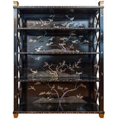 A Black Lacquer and Mother of Pearl Open Bookcase