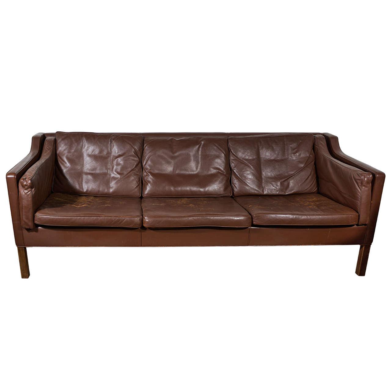 Mogensen Dark Chocolate Vintage Leather Sofa at 1stdibs