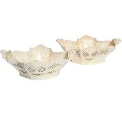 Two English Creamware Quatrefoil Baskets Circa 1780