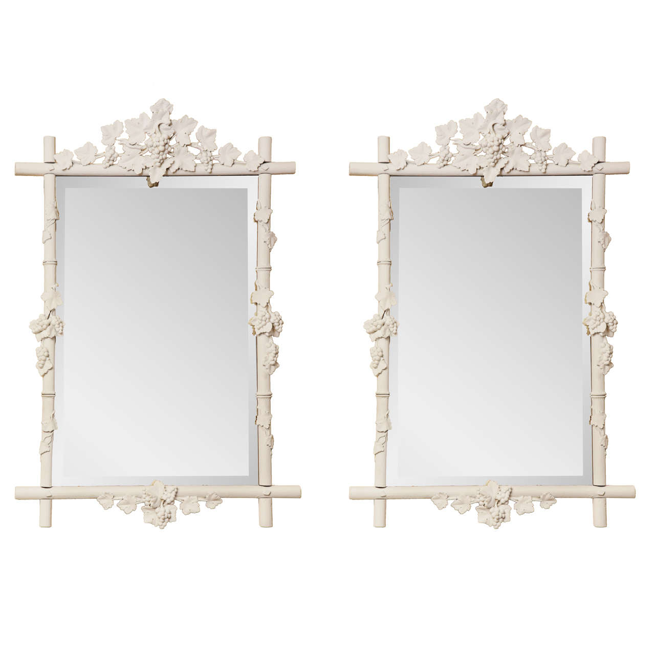 Pair of 19th Century French, Carved and Painted Mirrors