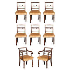 Set of Eight Early 19th Century Irish, Mahogany Dining Chairs