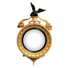 19th Century English,Gilded Convex Mirror