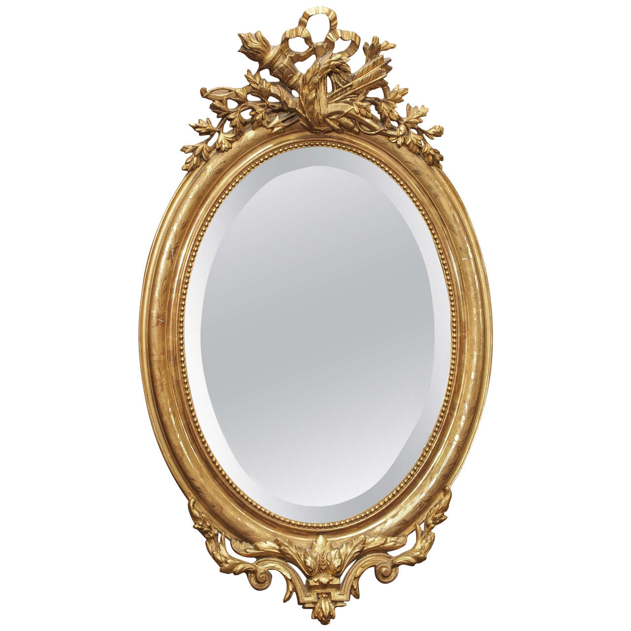 Lovely Oval Antique French Gold Beveled MIrror Circa 1850 For Sale