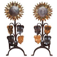 Pair of Antique French Aesthetic Movement Polished Steel and Bronze Andirons