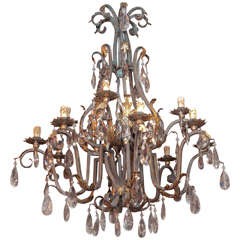 Early 20th Century Wrought Iron Chandelier in the French Manner
