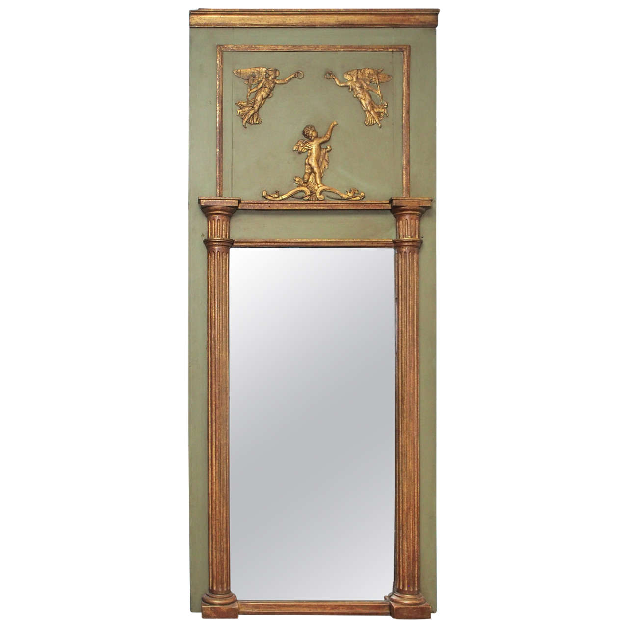 French Empire Period Painted and Gilded Mirror