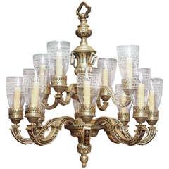 French Napoleon III Period Tiered Bronze Chandelier